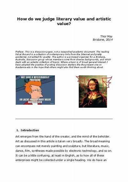 Judge Value Literary Artistic Academia