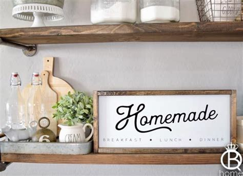 homemade kitchen framed wood sign  queenbhome