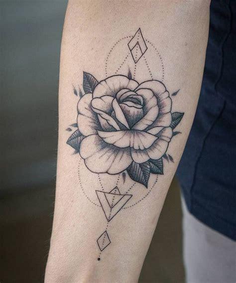 remarkable flower geometric tattoos  arm