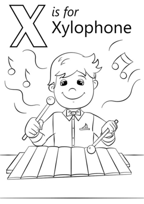 colors that start with x letter x is for xylophone coloring page free printable