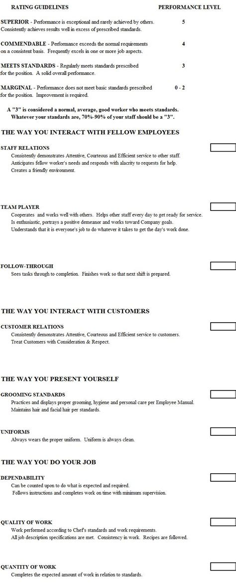 cook evaluation form  chefs resources httpwwwchefs