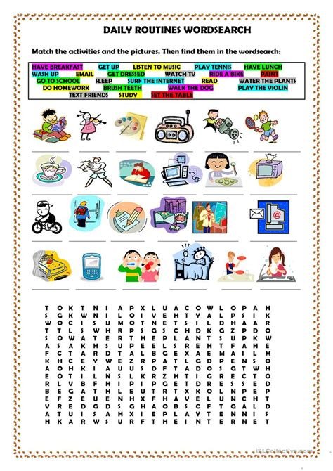daily routines wordsearch worksheet free esl printable worksheets made by teachers