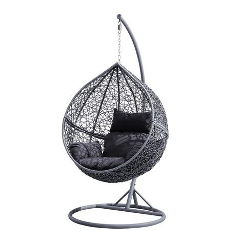 fauteuil suspendu de jardin forme oeuf r 233 sine tress 233 e et coussin gris 224 seulement 329 00 sur