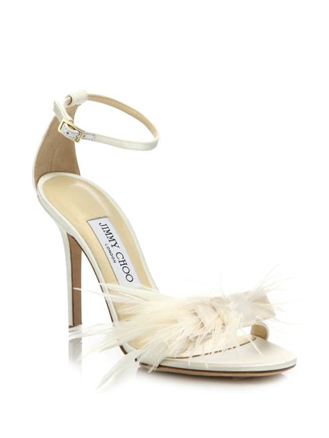 lyst jimmy choo vivien ostrich feather bow satin sandals
