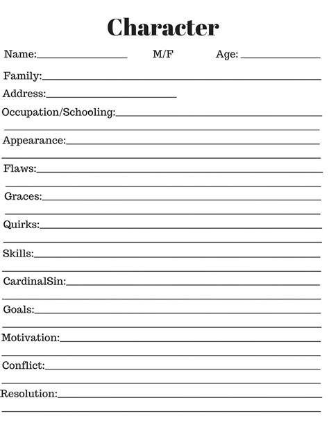 character development thesis worksheet pdf