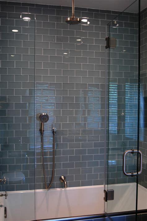glass tile bathroom ideas gray glass subway tile in fog bank modwalls lush 3x6