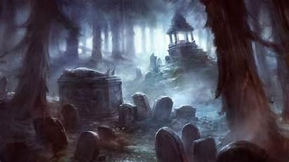Dark Graveyard Cemetery Wallpapers Spooky Backgrounds Fantasy