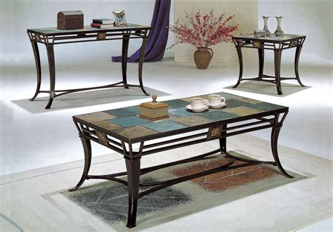 Slate Top 3 Piece Metal Coffee Table And End Table Set Coaster