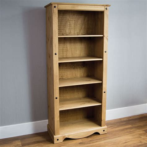 Pine Bookcases Furniture by Corona Panama Bookcase Display Unit Solid Pine Waxed