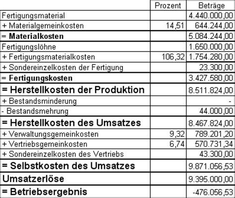 betriebsabrechnungsbogen berechnen kostenstellenrechnung