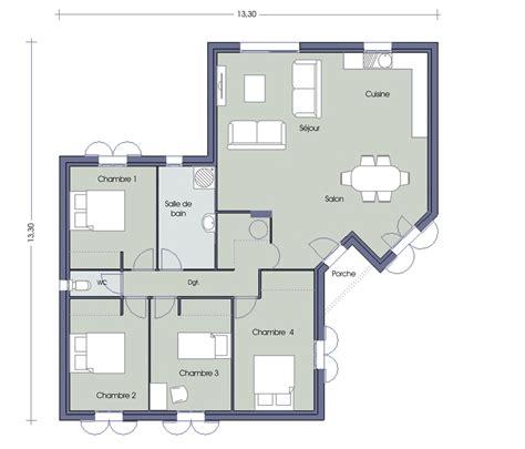plan de maison 3 chambres salon plan de maison 4 chambres salon