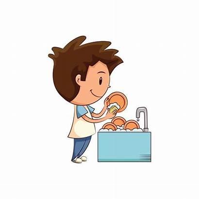 Dishes Washing Clipart Boy Child Help Illustration