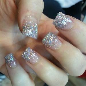 Silver Glitter French Tip Acrylic Nails | N A I L S ...