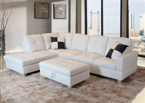Sofa Sets On Clearance by Beverly White Faux Leather Sectional Sofa With Ottoman
