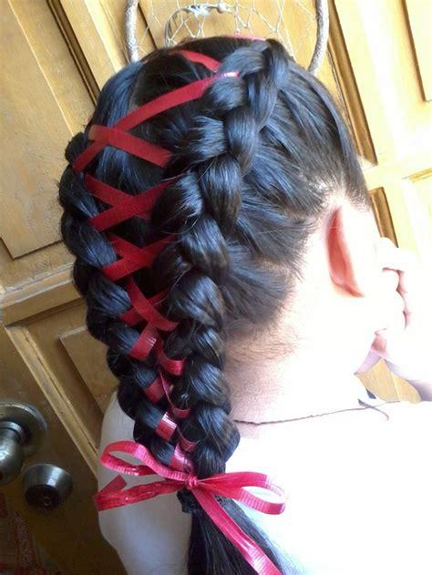 pretty braids  ribbons  haircut web