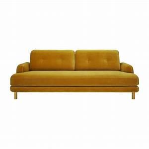 land canape 3 places jaune moutarde en velours habitat With nettoyage tapis avec canape jaune velours
