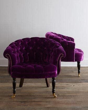 haute house sausalito purple velvet tufted chair