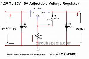 10a High Current Adjustable Voltage Regulator Circuit