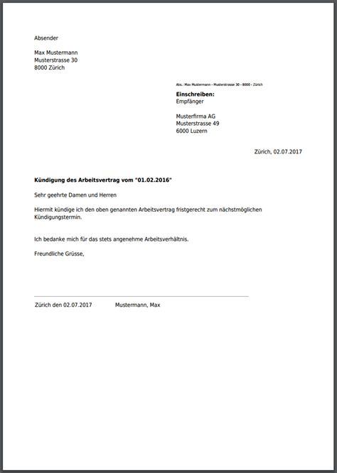 kündigung per einschreiben k 252 ndigung f 252 r arbeitsvertrag kostenlos als pdf