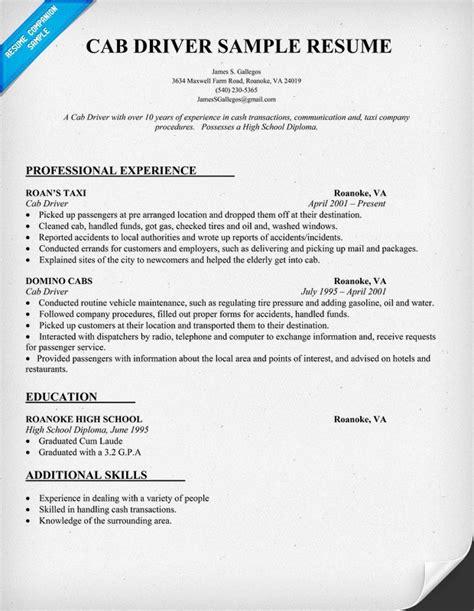 cab driver resume sample resumecompanioncom