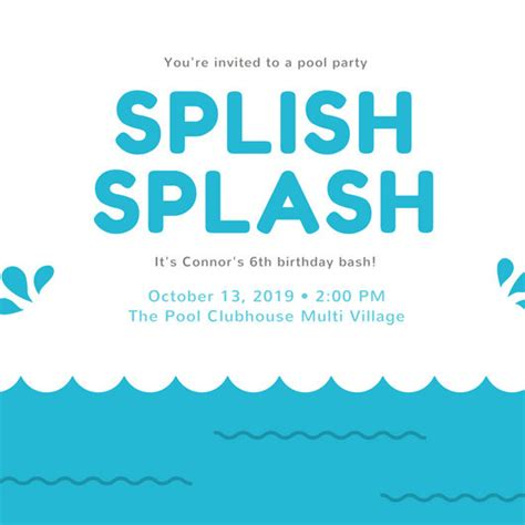 customize  pool party invitation templates