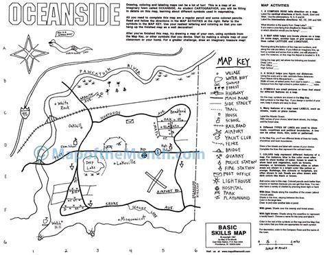 Basic Map Skills  Blank Outline Map, 16x20 Inches, Activities Included