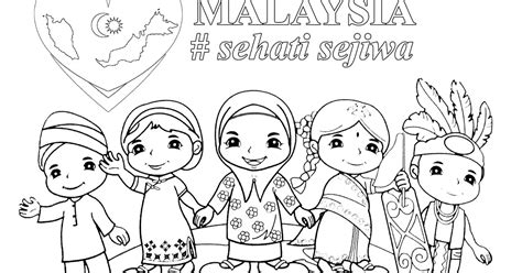 poster mewarna malaysia sehati sejiwa gambar mewarna
