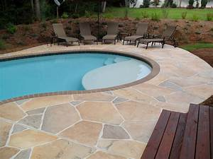 Concrete pool deck ideas concrete flagstone simulation for Pool deck ideas made from concrete