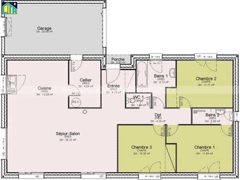 plan maison plain pied 3 chambres avec garage plan de maison de plain pied avec 3 chambres
