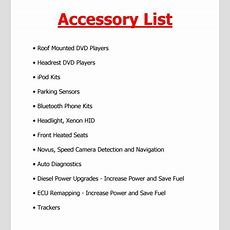 Car Accessories List Of Car Accessories