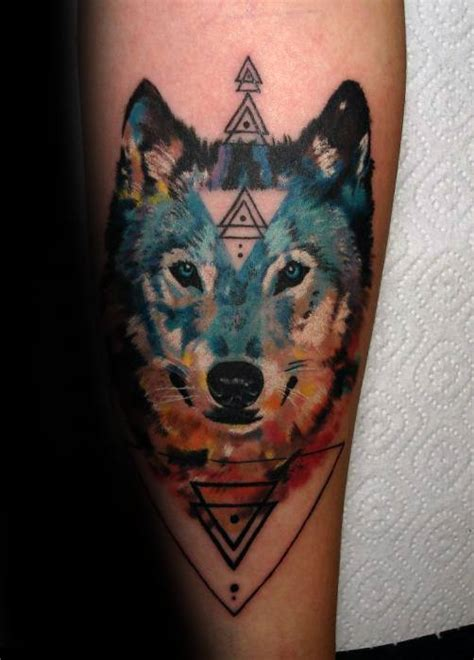 wolf watercolor tattoo designs  men cool ink ideas