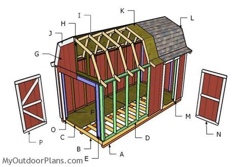 8 x 16 shed plans 8x16 gambrel roof plans myoutdoorplans free