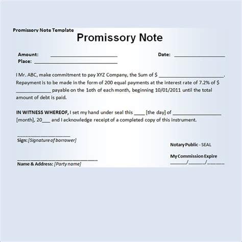 Promissory Note Template 11 Promissory Note Templates Word Excel Pdf Formats