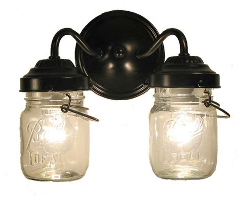 Vintage Clear Canning Jar Double Sconce Light, Antique Black   Farmhouse   Bathroom Vanity