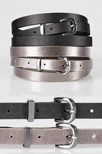 Lady Voluptuous Size Chart 2 Pack Black Metallic Skinny Belts Plus Size 16 To 32
