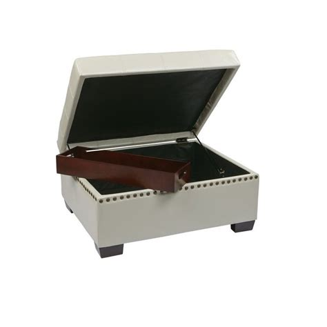 leather ottoman with storage and tray eco leather storage ottoman with tray in cream dtr3030s cmbd