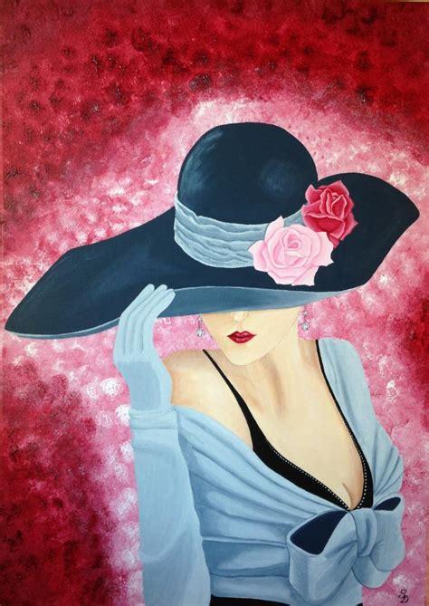 peinture sur toile pour debutant tableau repr 233 sentant une femme au chapeau peinture acrylique sur toile 50 x 70