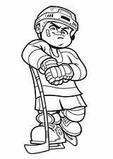 Hockey Coloring Player Pages Clipart Cartoon Colouring Drawing Printable Netart Sports Adult Clip sketch template