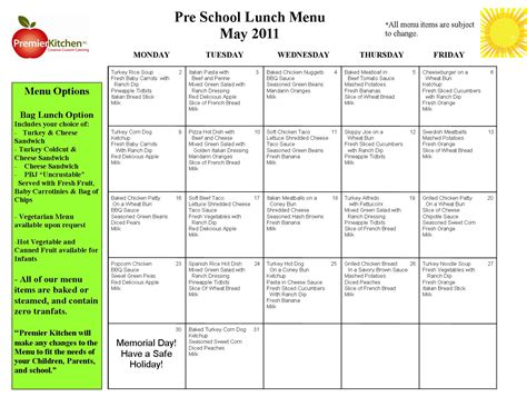 Child Care Menu Templates Free - Costumepartyrun