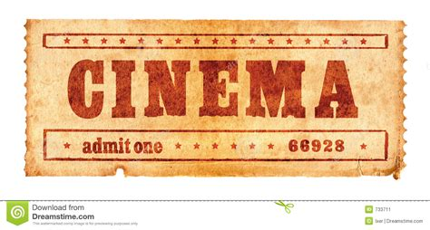 aged cinema ticket  stock image image
