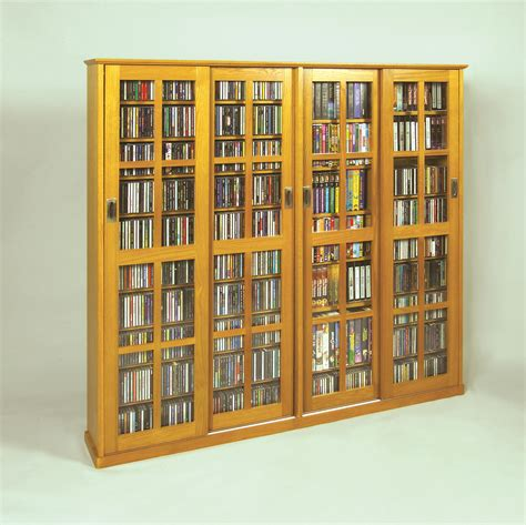 Leslie Dame Deluxe Media Storage Cabinet by Leslie Dame Sliding Door Inlaid Glass Mission Style