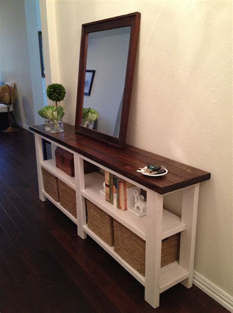 narrow table behind couch rustic chic console table thelotteryhouse
