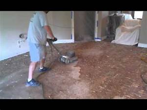 How to remove a glue down hardwood floor youtube for How to clean glue off hardwood floors