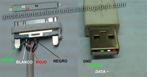 pinout cable usb ipod iphone y anotaciones