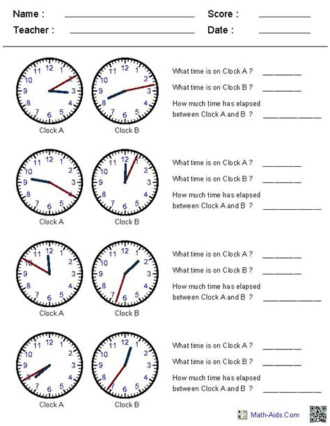 elapsed time worksheets site generates clock times increments