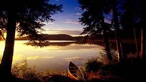 Boat, lake, sunset, trees, beautiful natural scenery ...