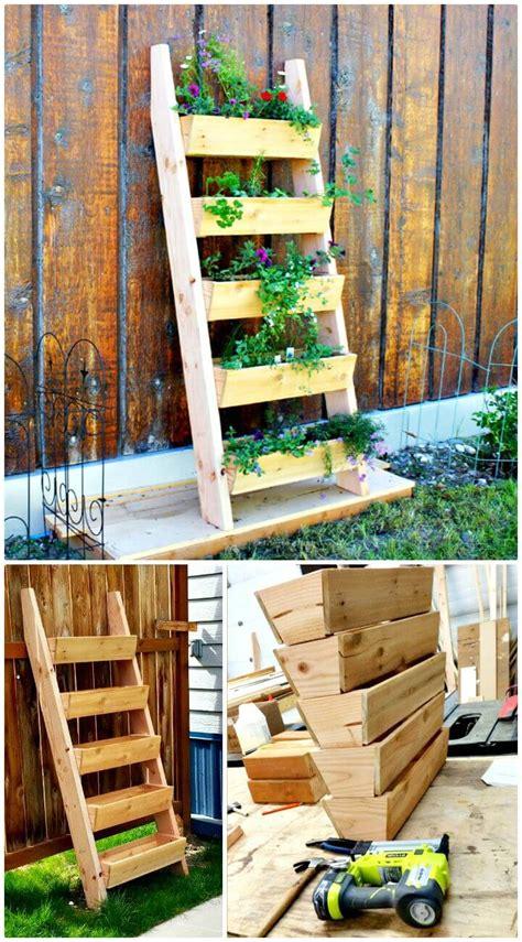 diy ladder planter plans diy vertical planter ideas
