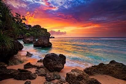 Beach Bali Sunset Beaches Wallpapers Ocean Island