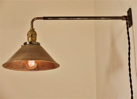 vintage industrial wall mount light brass cone shade
