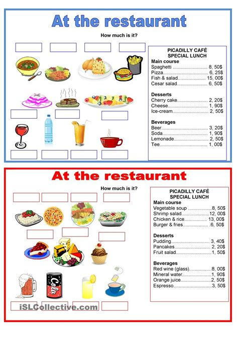 pairwork food at the restaurant school